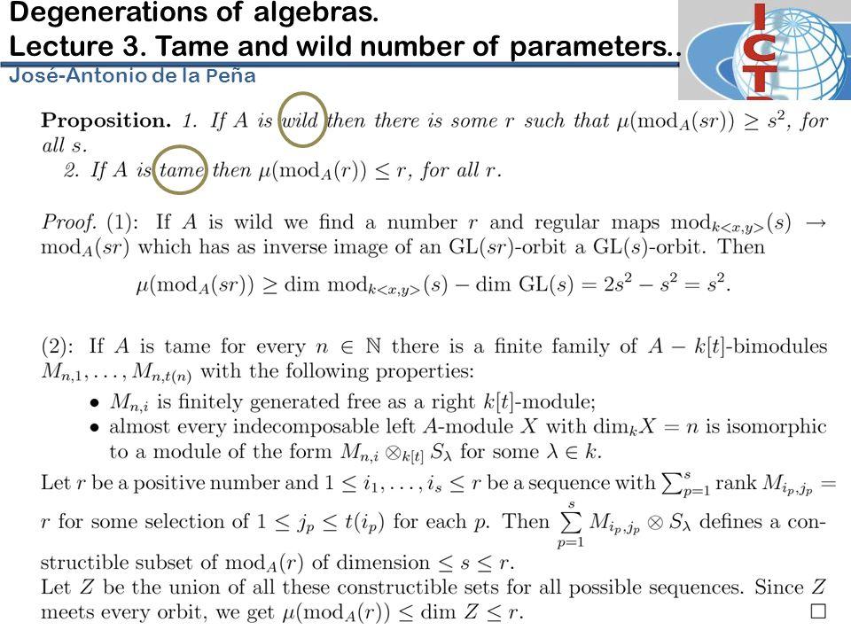 Degenerations of algebras. Lecture 3. Tame and wild number of parameters.. José-Antonio de la P eña