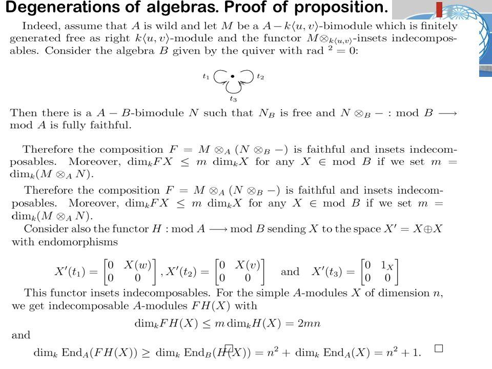Degenerations of algebras. Proof of proposition. Lecture 3.. José-Antonio de la P eña