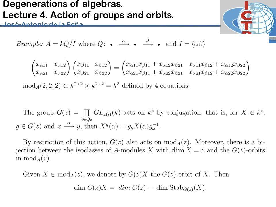 Degenerations of algebras. Lecture 4. Action of groups and orbits. José-Antonio de la P eña