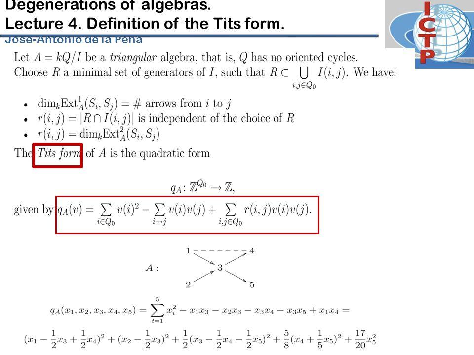 Degenerations of algebras. Lecture 4. Definition of the Tits form. José-Antonio de la P eña