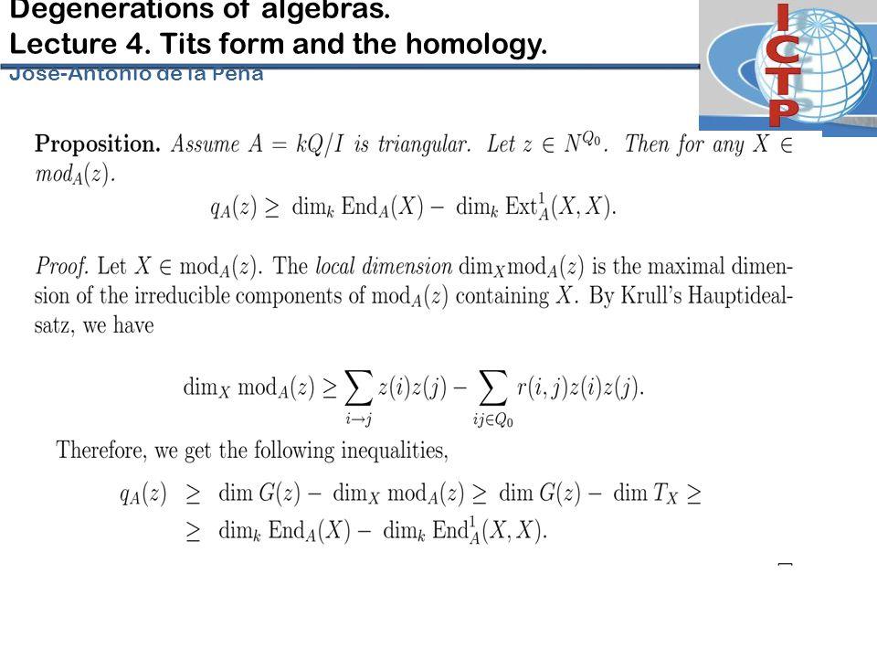Degenerations of algebras. Lecture 4. Tits form and the homology. José-Antonio de la P eña