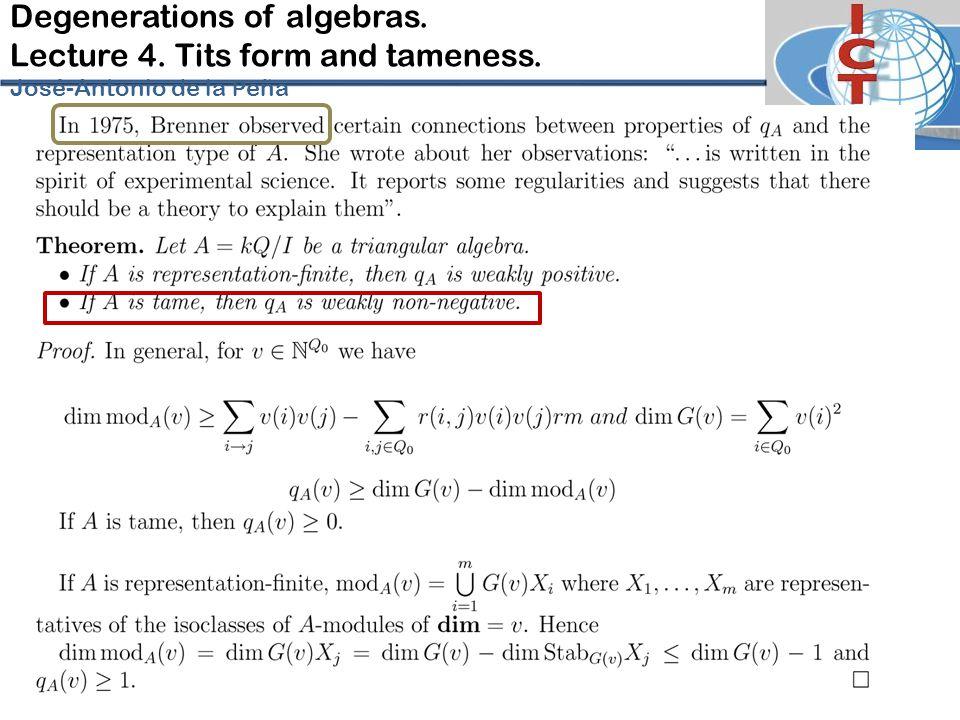 Degenerations of algebras. Lecture 4. Tits form and tameness. José-Antonio de la P eña