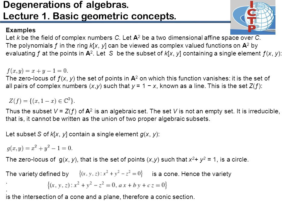 Examples Let k be the field of complex numbers C.Let A 2 be a two dimensional affine space over C.