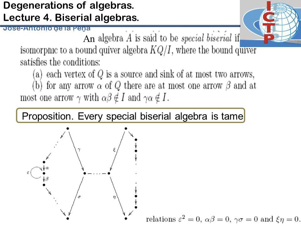 Degenerations of algebras.Lecture 4. Biserial algebras.