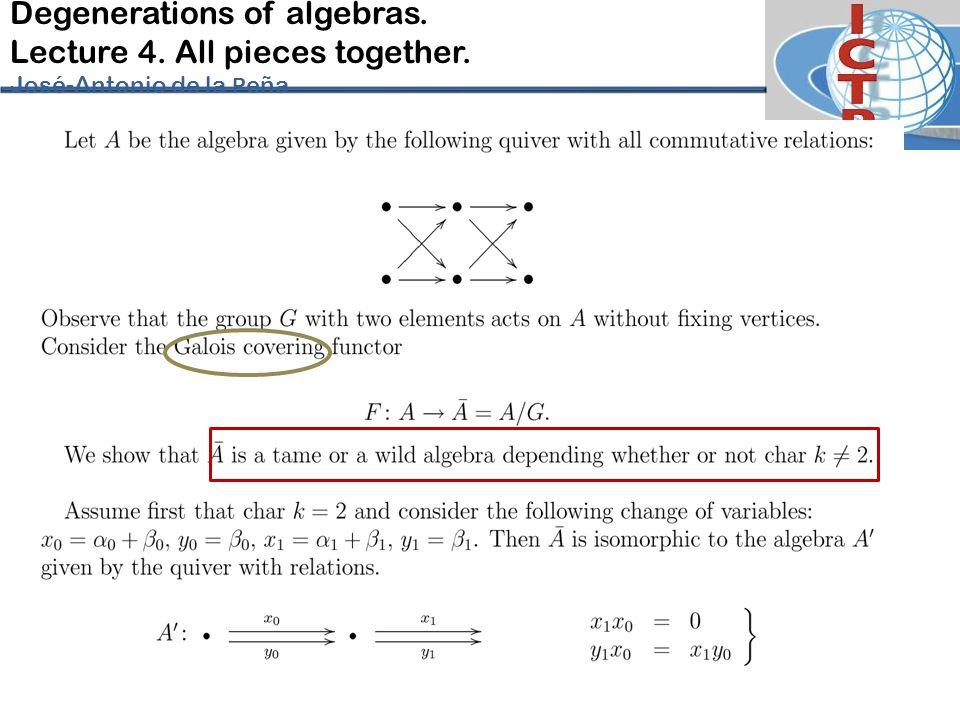 Degenerations of algebras. Lecture 4. All pieces together. José-Antonio de la P eña