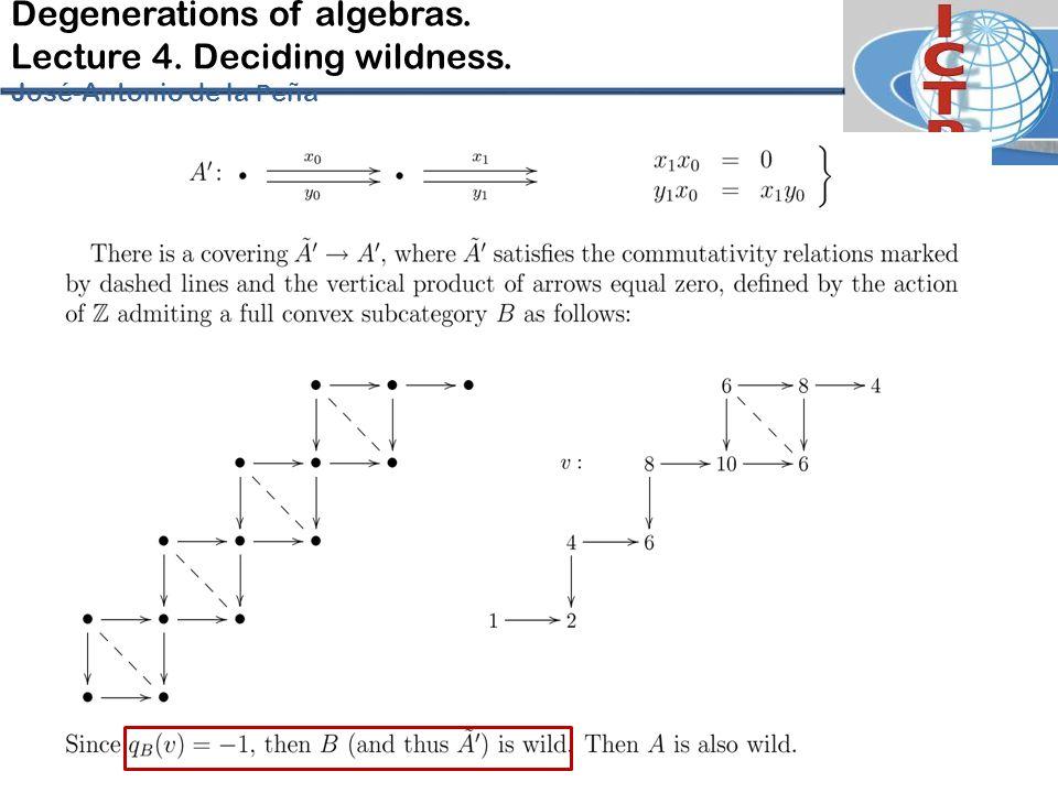 Degenerations of algebras. Lecture 4. Deciding wildness. José-Antonio de la P eña