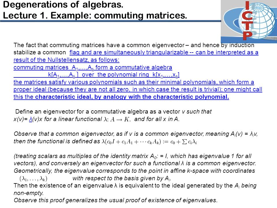 Degenerations of algebras.Lecture 1. Example: commuting matrices.