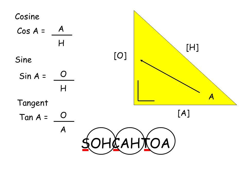 [H] A [O] [A] Cosine Cos A = A H Sine Sin A = O H Tangent Tan A = O A SOHCAHTOA