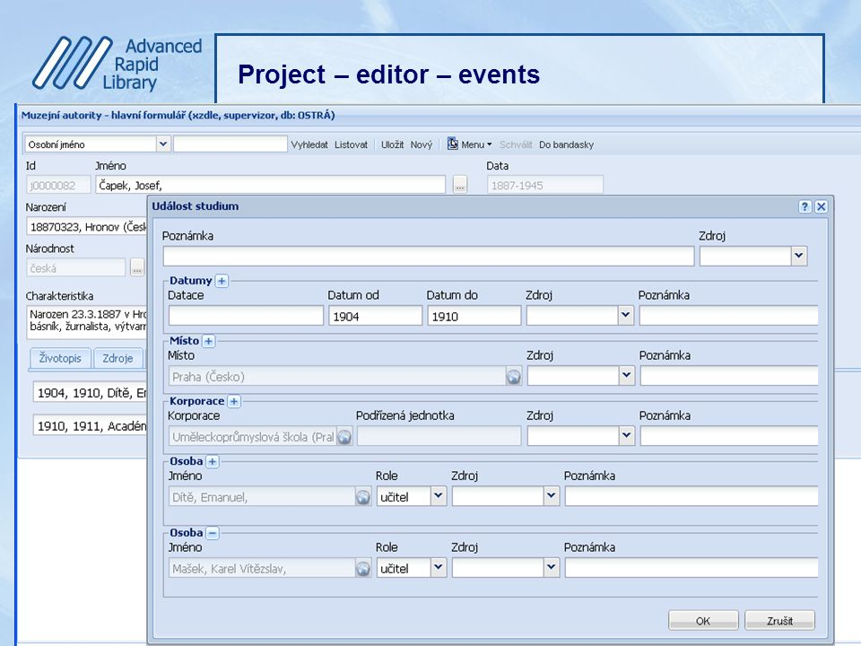Project – editor – events Editor MA