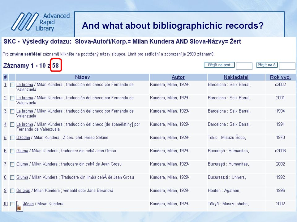 And what about bibliographichic records?