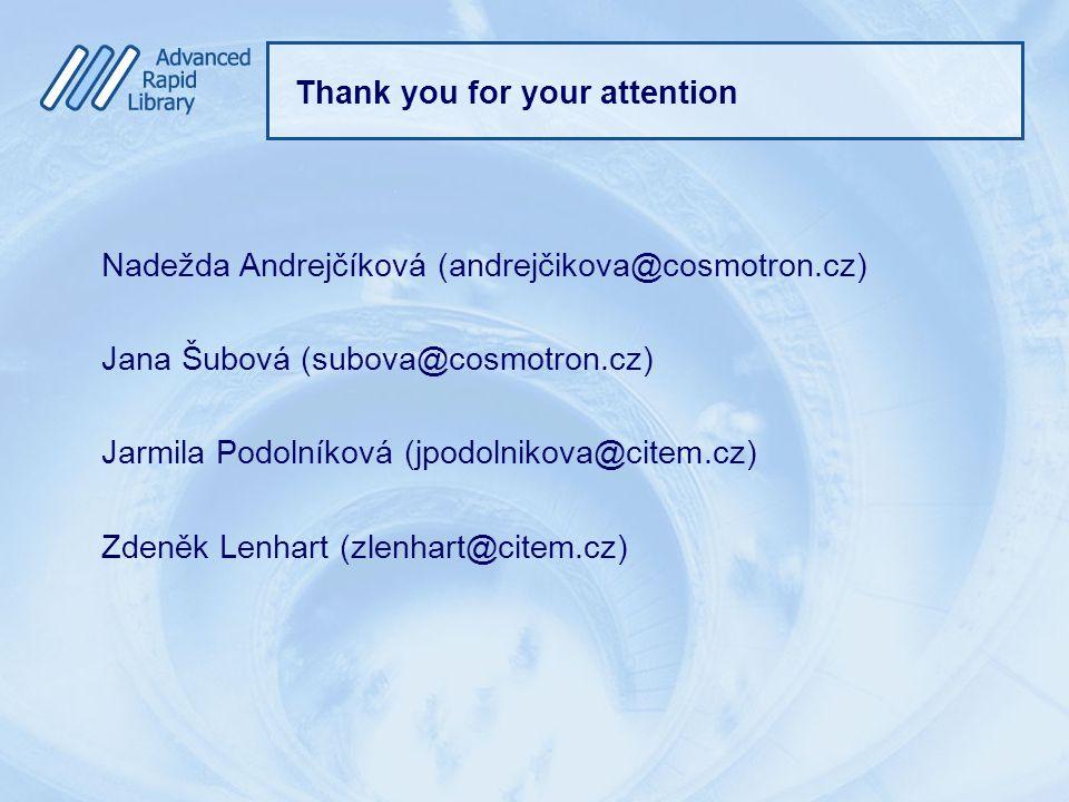 Thank you for your attention Nadežda Andrejčíková (andrejčikova@cosmotron.cz) Jana Šubová (subova@cosmotron.cz) Jarmila Podolníková (jpodolnikova@citem.cz) Zdeněk Lenhart (zlenhart@citem.cz)