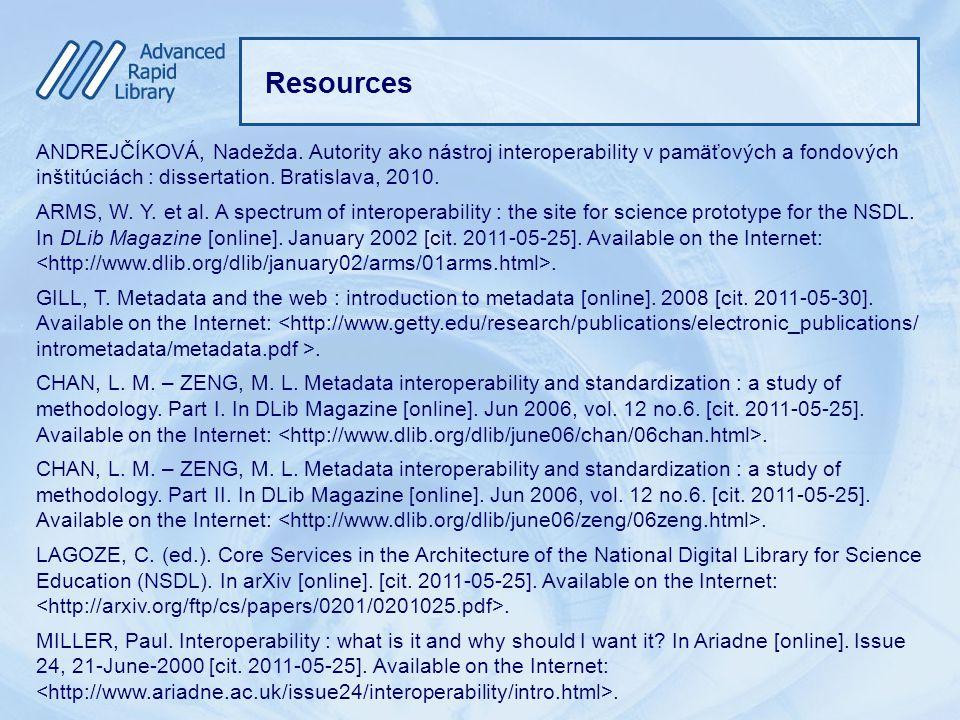 Resources ANDREJČÍKOVÁ, Nadežda.