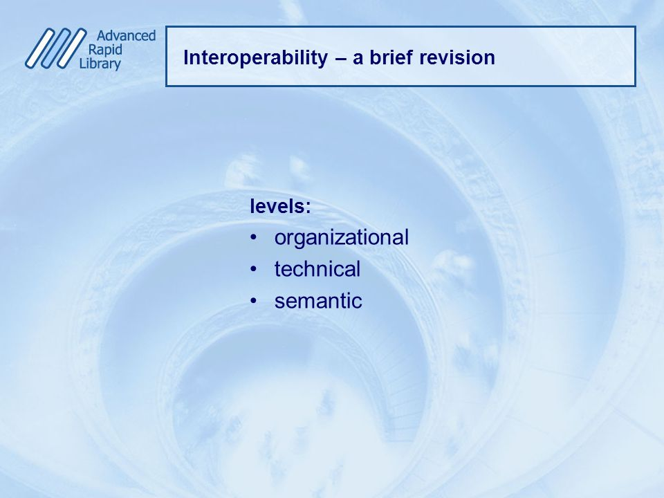 Interoperability – a brief revision levels: organizational technical semantic