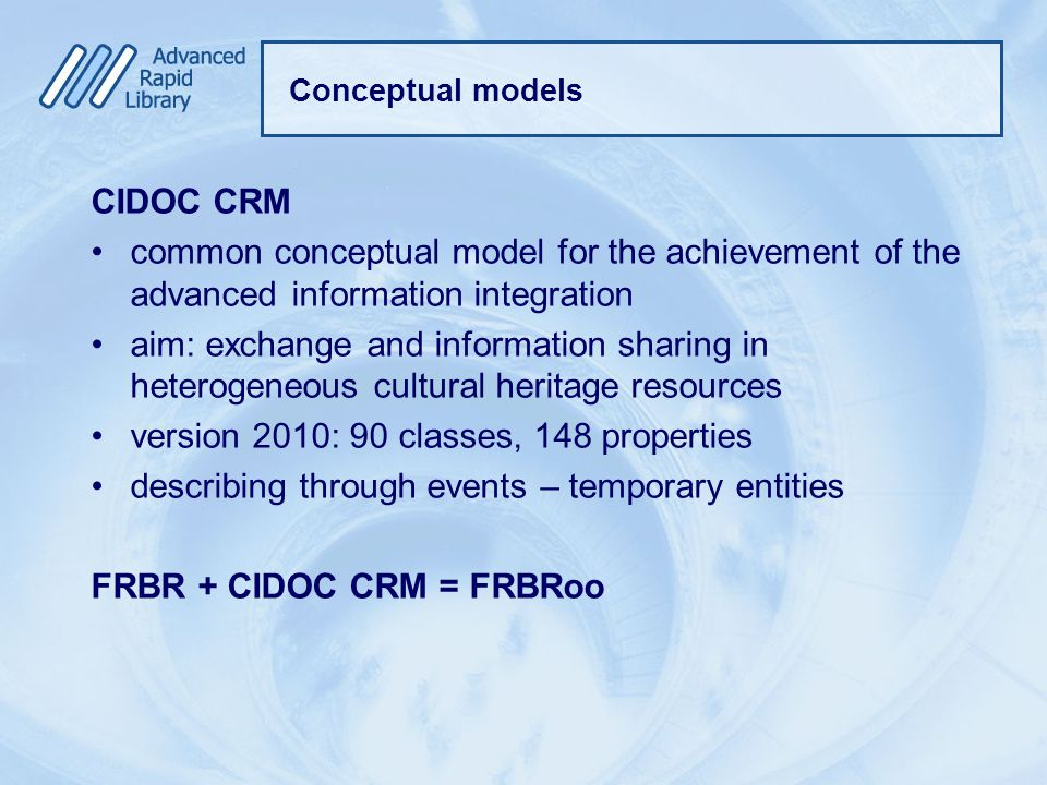 Conceptual models CIDOC CRM common conceptual model for the achievement of the advanced information integration aim: exchange and information sharing