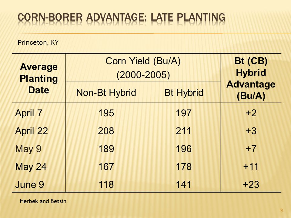  Corn  April 1 to May 1: Western KY  April 15 to May 15: Central and Eastern KY