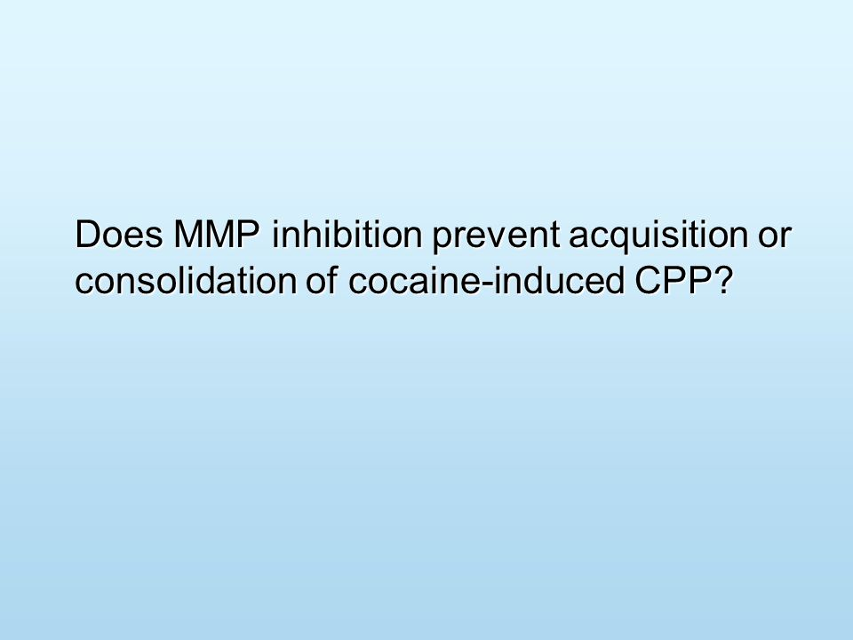 Does MMP inhibition prevent acquisition or consolidation of cocaine-induced CPP