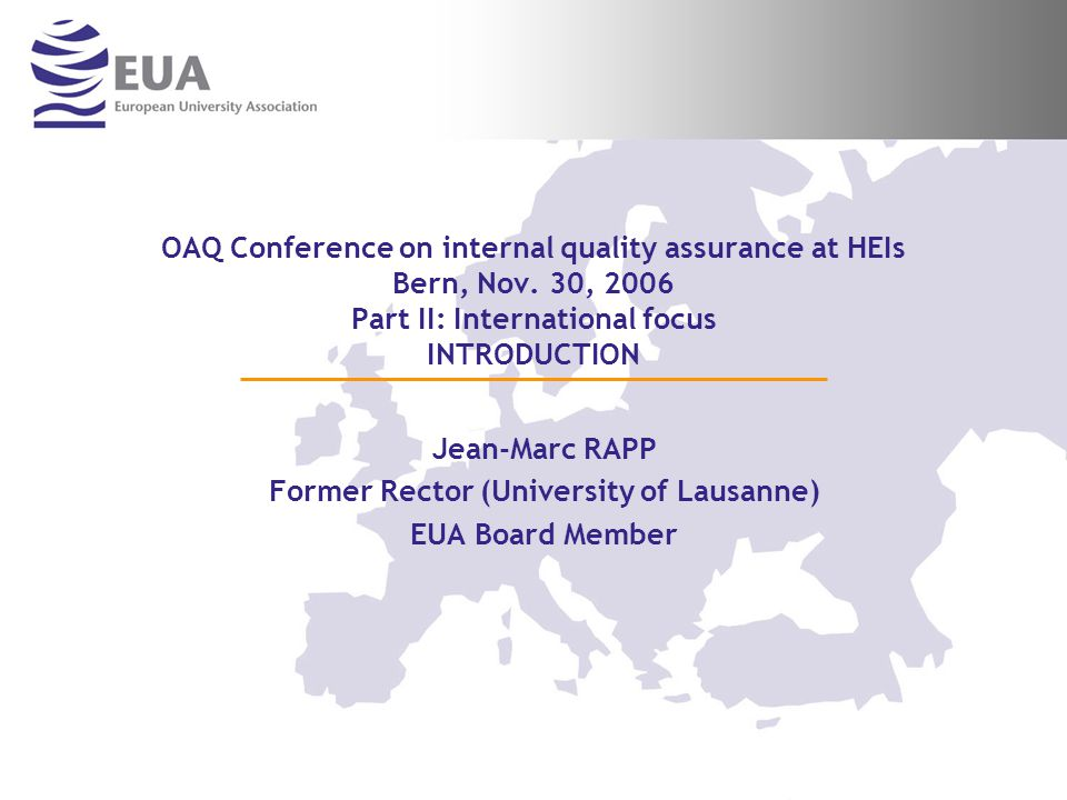 OAQ Conference on internal quality assurance at HEIs Bern, Nov.