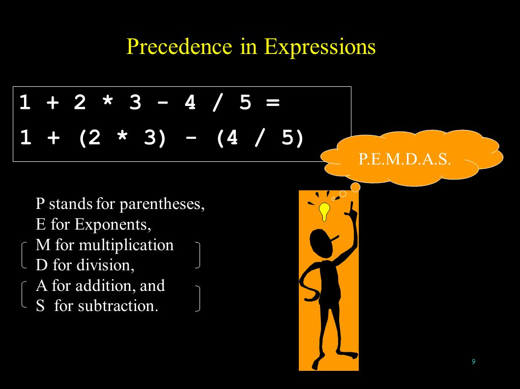 9 Precedence in Expressions 1 + 2 * 3 - 4 / 5 = P stands for parentheses, E for Exponents, M for multiplication D for division, A for addition, and S for subtraction.