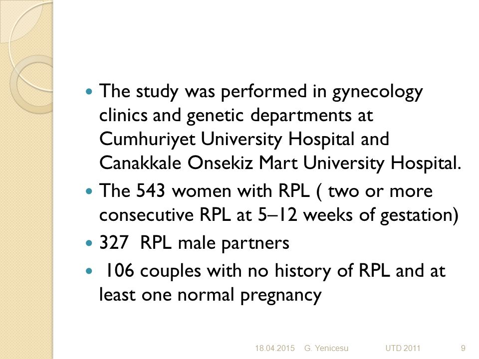 Chromosome analyses were performed in all RPL and control couples.