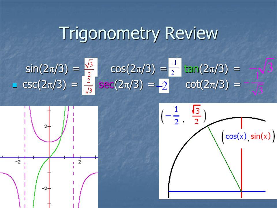 Trigonometry Review sin(2  /3) = cos(2  /3) = tan(2  /3) = sin(2  /3) = cos(2  /3) = tan(2  /3) = csc(2  /3) = sec(2  /3) = cot(2  /3) = csc(2  /3) = sec(2  /3) = cot(2  /3) =