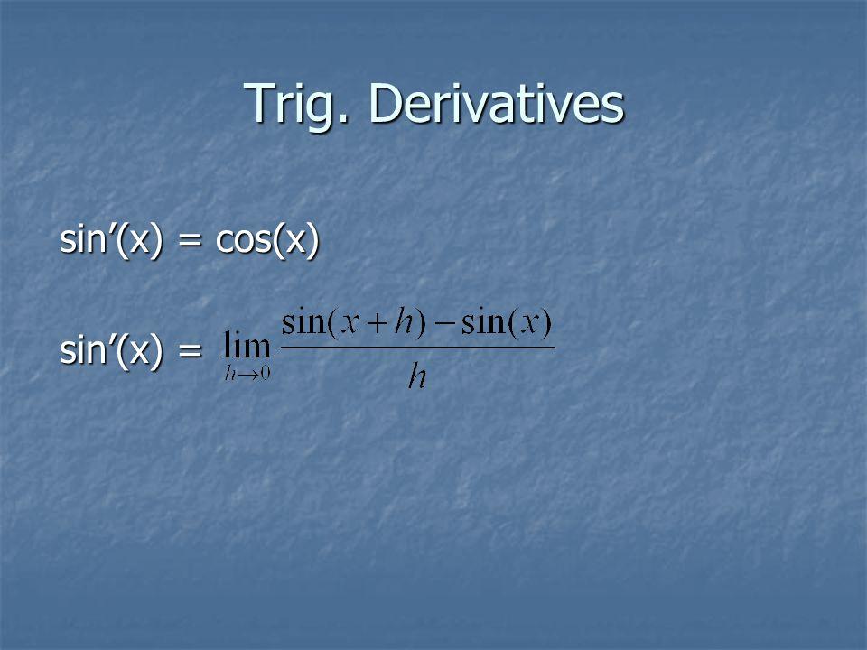 Trig. Derivatives sin'(x) = cos(x) sin'(x) =