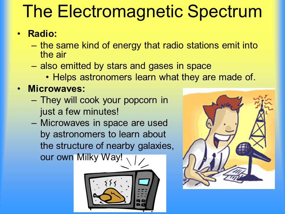 The Electromagnetic Spectrum Radio: –the same kind of energy that radio stations emit into the air –also emitted by stars and gases in space Helps astronomers learn what they are made of.