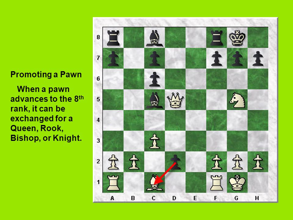 Promoting a Pawn When a pawn advances to the 8 th rank, it can be exchanged for a Queen, Rook, Bishop, or Knight.