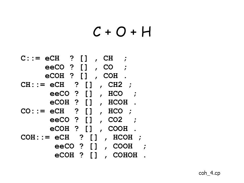 C + O + H C::= eCH . [], CH ; eeCO . [], CO ; eCOH .