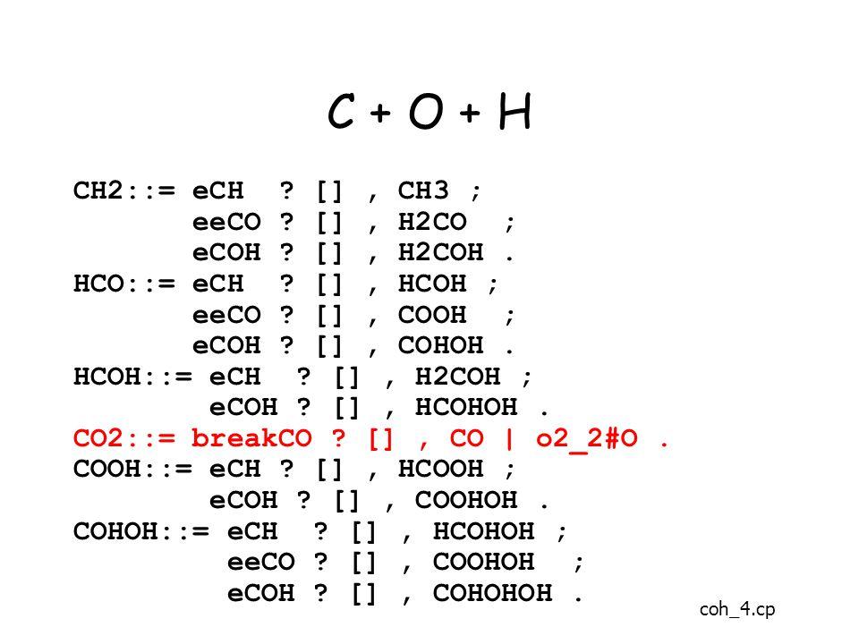 C + O + H CH2::= eCH . [], CH3 ; eeCO . [], H2CO ; eCOH .