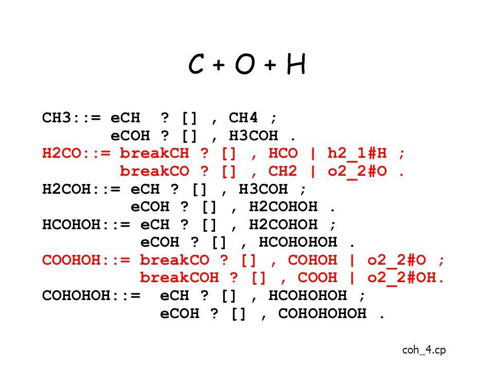 C + O + H CH3::= eCH . [], CH4 ; eCOH . [], H3COH.