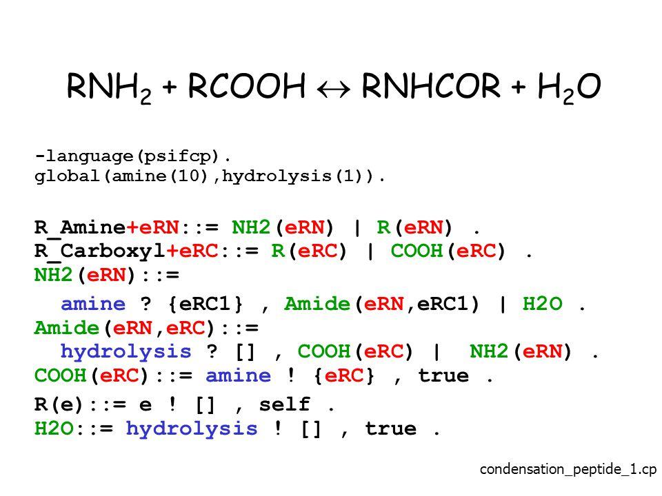 RNH 2 + RCOOH  RNHCOR + H 2 O -language(psifcp). global(amine(10),hydrolysis(1)).