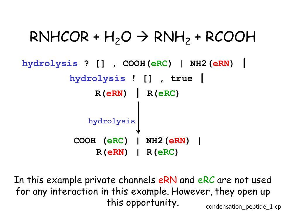 RNHCOR + H 2 O  RNH 2 + RCOOH hydrolysis . [], COOH(eRC) | NH2(eRN) | hydrolysis .
