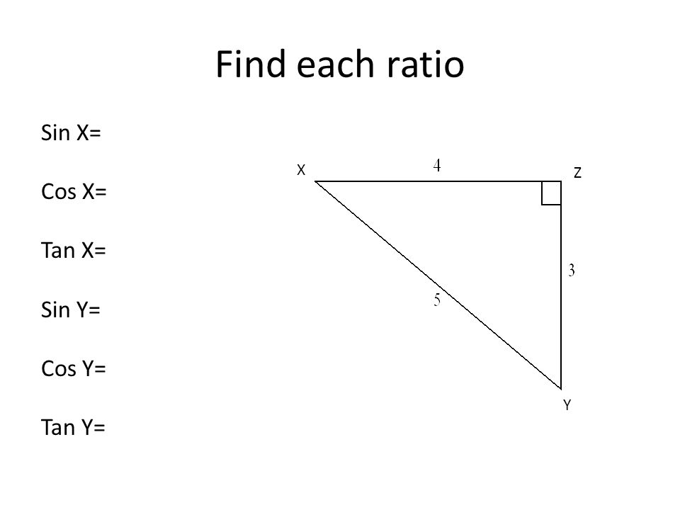 Sin X= Cos X= Tan X= Sin Y= Cos Y= Tan Y= Find each ratio Y X Z
