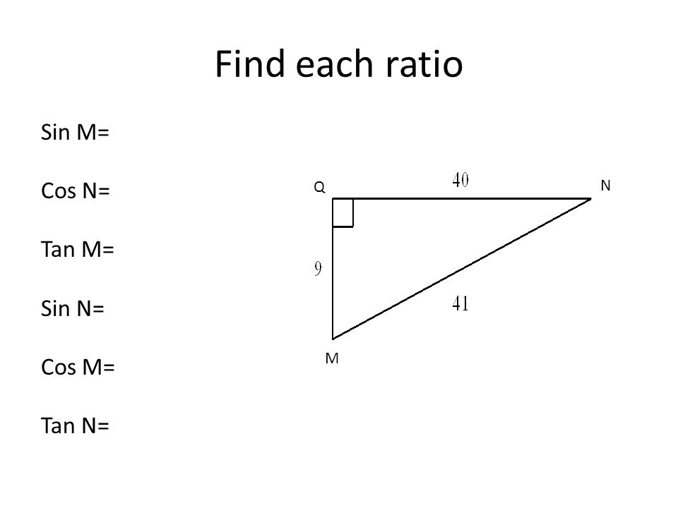Sin M= Cos N= Tan M= Sin N= Cos M= Tan N= Find each ratio Q N M