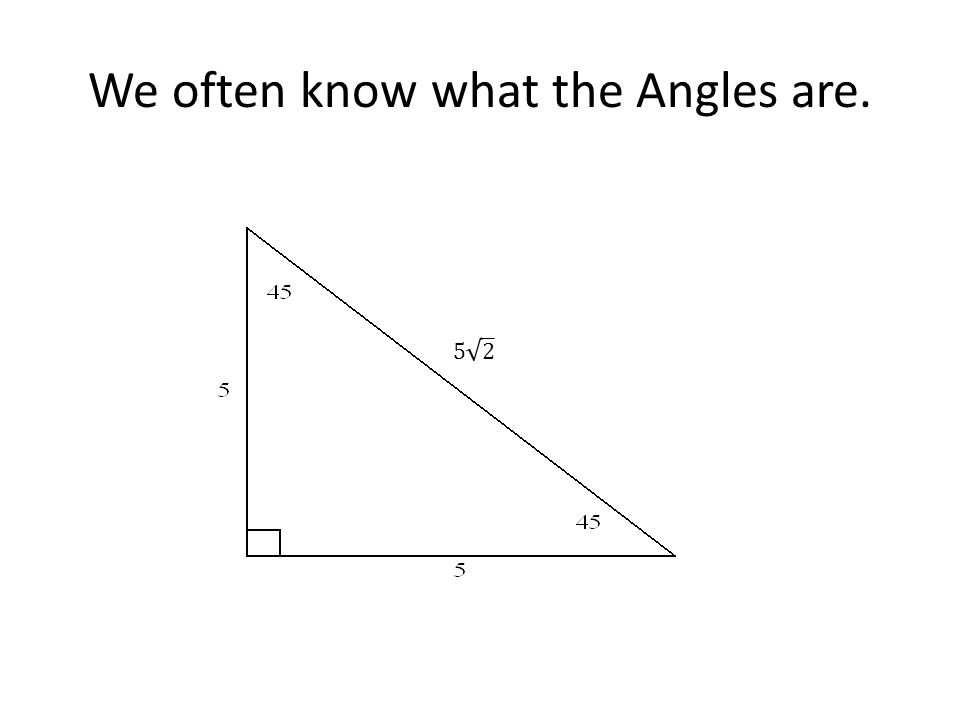 We often know what the Angles are.