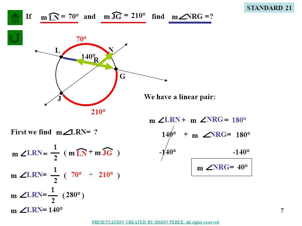 8 D R H E I If DE m = 90° and HI m = 200° findERI = m .