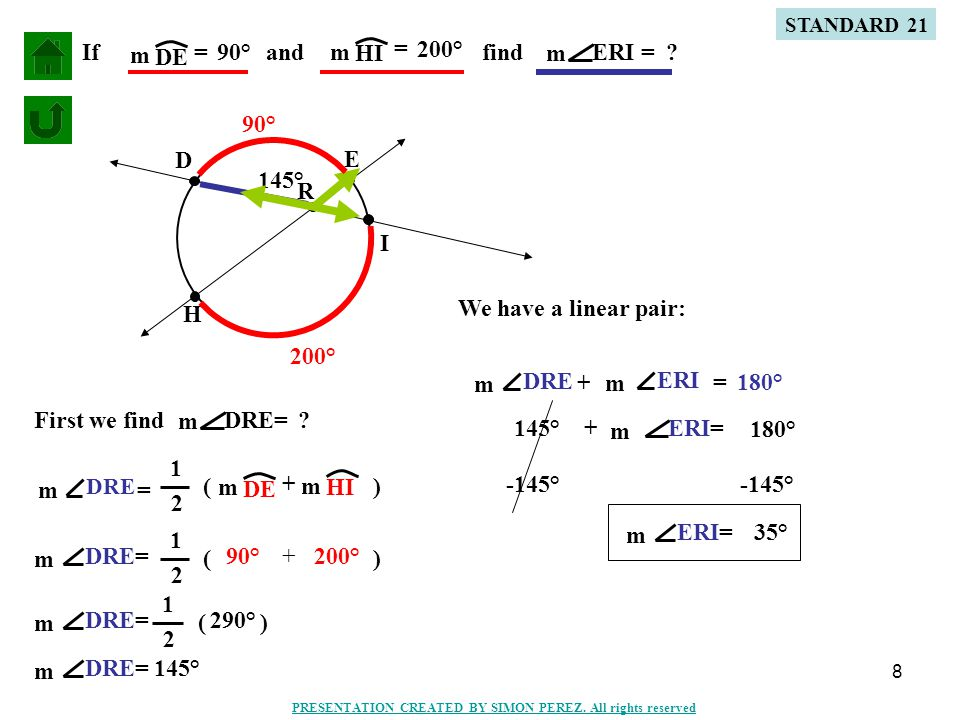 9 Two tangents Secant and a tangent Two secants M L K A B C D E Q R S T LNM m - LM m SR m - TR m 1 2 ( ) DE m - BC m 1 2 ( ) 1 2 N If two secants, a secant and a tangent, or two tangents intersect in the exterior of a circle, then the measure of the angle formed is one-half the possitive difference of the measures of the intercepted arcs.