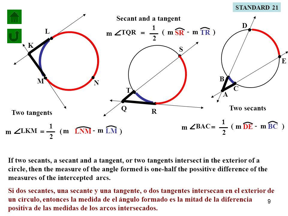 10 M L K LNM m - LM m N LKM m = 1 2 ( ) If LNM m = 220° LKM m = 1 2 ( ) LMm=360°- 220°= 140° 140° 220°140°- LKM m = 1 2 (80°) LKM m = 40° find LKM m =.