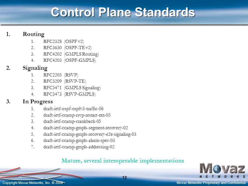 Copyright Movaz Networks, Inc. © 2006Movaz Networks Proprietary and Confidential 12 Control Plane Standards 1.Routing 1.RFC2328 (OSPF v2) 2.RFC3630 (O