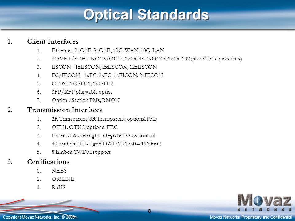 Copyright Movaz Networks, Inc. © 2006Movaz Networks Proprietary and Confidential 8 Optical Standards 1.Client Interfaces 1.Ethernet: 2xGbE, 8xGbE, 10G