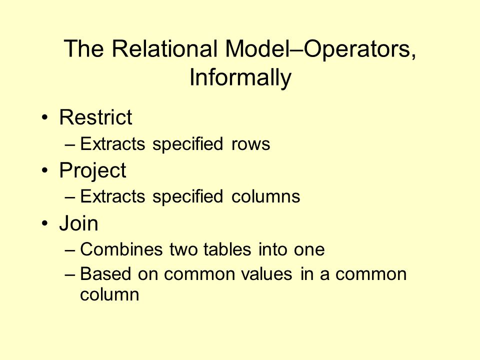 Tutorial D A language for describing/defining the relational model and its behaviors Pascal-like ( Java-like ) Self-explanatory Free of the restrictions/implications of SQL