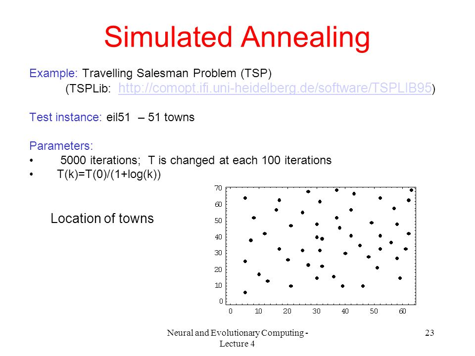 Neural and Evolutionary Computing - Lecture 4 23 Simulated Annealing Example: Travelling Salesman Problem (TSP) (TSPLib: http://comopt.ifi.uni-heidelberg.de/software/TSPLIB95 ) http://comopt.ifi.uni-heidelberg.de/software/TSPLIB95 Test instance: eil51 – 51 towns Parameters: 5000 iterations; T is changed at each 100 iterations T(k)=T(0)/(1+log(k)) Location of towns