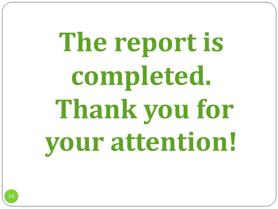 14 The report is completed. Thank you for your attention!