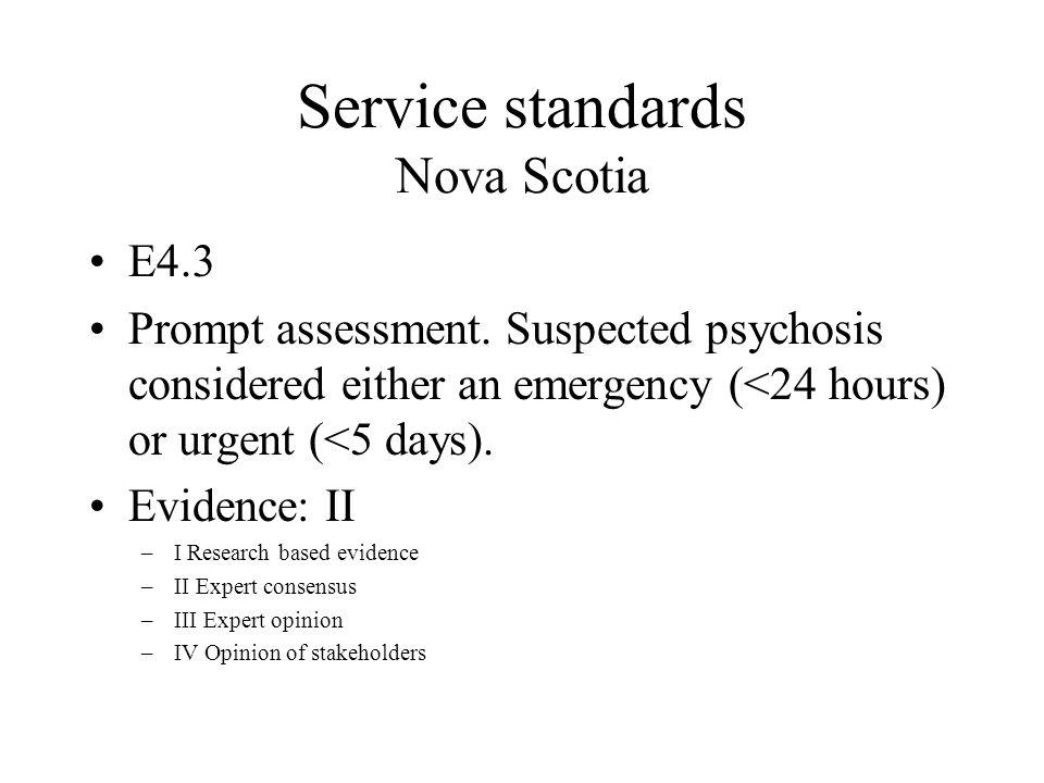 Service standards Nova Scotia E4.3 Prompt assessment.