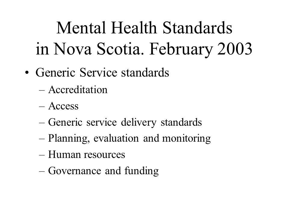 Mental Health Standards in Nova Scotia.