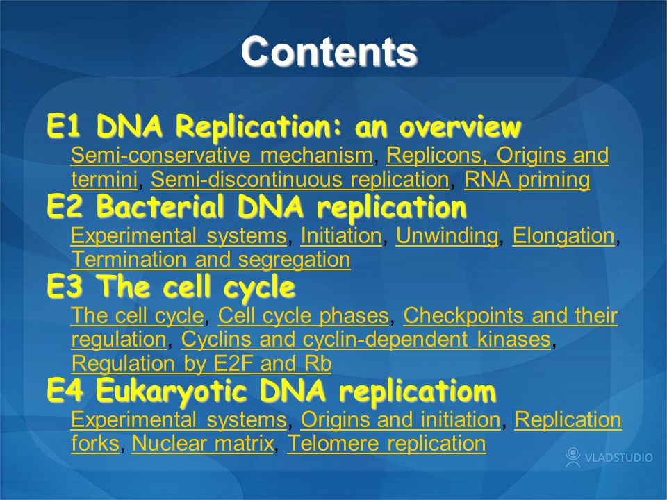 E1 DNA Replication: an overview — Semi-conservative mechanism A summary of the three postulated methods of DNA synthesis