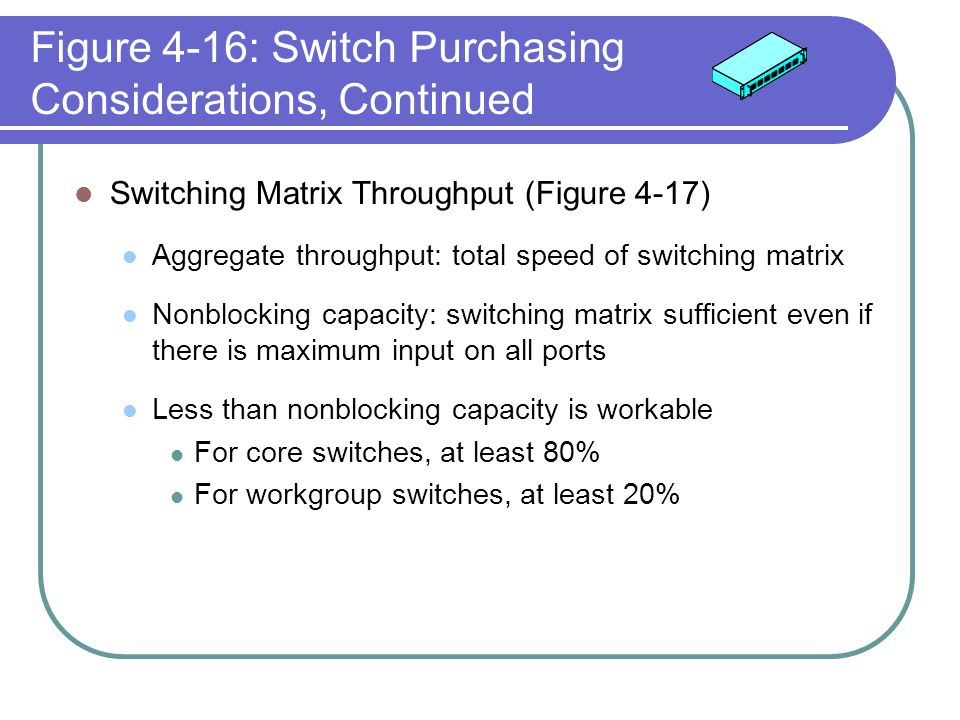 Figure 4-16: Switch Purchasing Considerations, Continued Switching Matrix Throughput (Figure 4-17) Aggregate throughput: total speed of switching matr