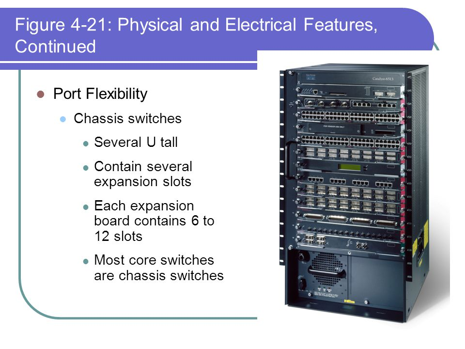 Figure 4-21: Physical and Electrical Features, Continued Port Flexibility Chassis switches Several U tall Contain several expansion slots Each expansi