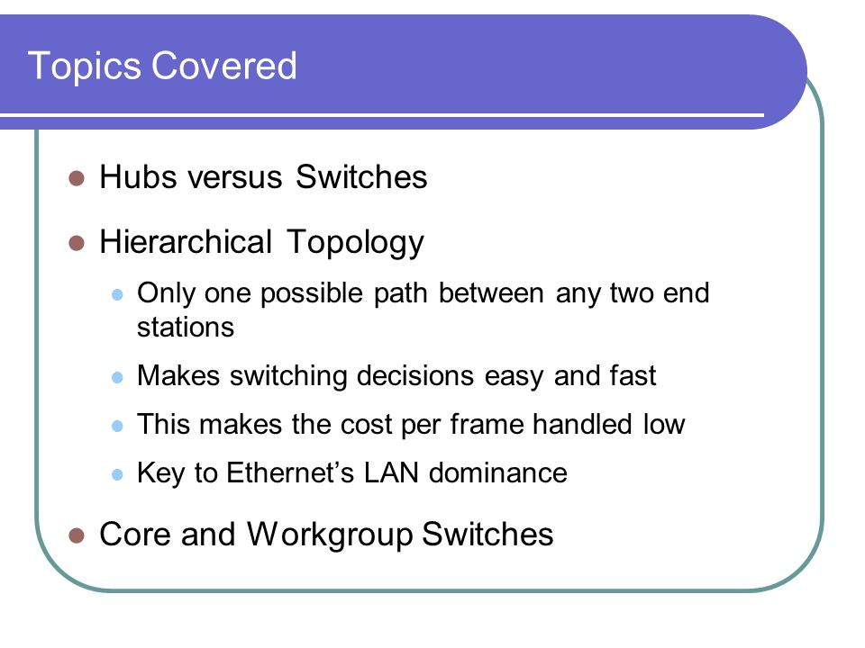 Topics Covered Hubs versus Switches Hierarchical Topology Only one possible path between any two end stations Makes switching decisions easy and fast