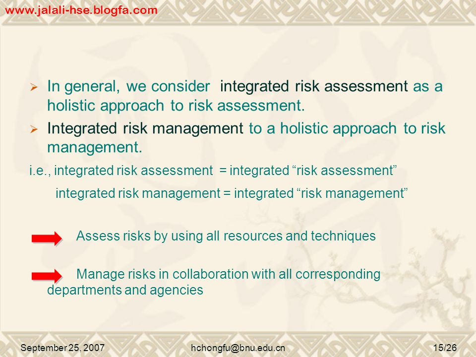  In general, we consider integrated risk assessment as a holistic approach to risk assessment.